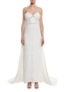 Angelica Guipure Lace Cape-Back Bridal Gown