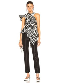 Self Portrait self-portrait Asymmetric Stripe Ruffle Jumpsuit
