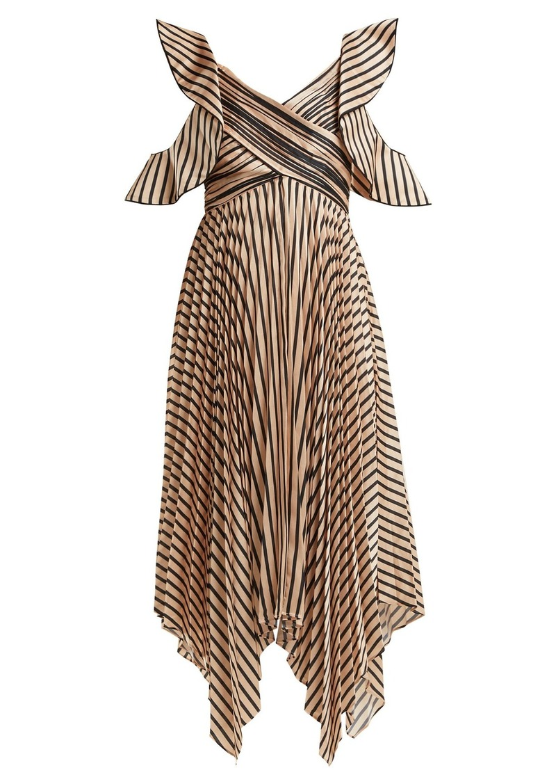 Self Portrait Self-portrait Asymmetric striped satin dress