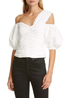 Self Portrait Self-Portrait Asymmetrical Neck Puff Sleeve Taffeta Top