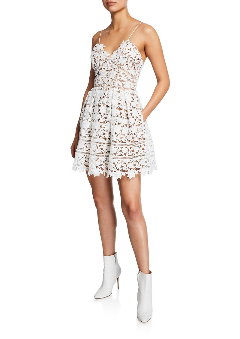 Self-Portrait Azaelea Floral Lace Sleeveless Mini Dress