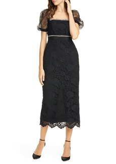 Self Portrait Self-Portrait Bead Trim Lace Midi Dress