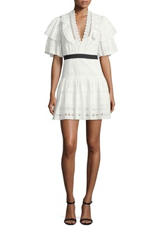 Self Portrait Self-Portrait Broderie Anglaise Striped Cotton Cocktail Dress