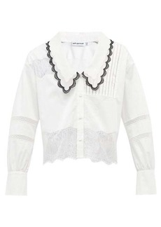 Self Portrait Self-Portrait Chelsea-collar lace-insert poplin shirt