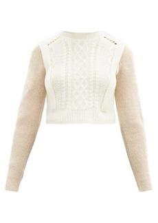 Self Portrait Self-Portrait Contrast-sleeve cable-knit sweater