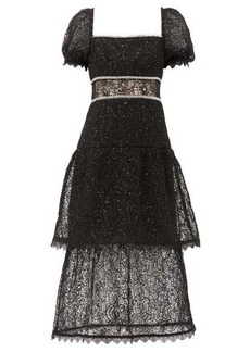 Self Portrait Self-Portrait Crystal and sequin-embellished layered lace dress