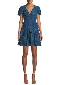 Self Portrait Self-Portrait Dot-Print Chiffon Lace-Trim Short dress