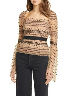 Self Portrait Self-Portrait Dot Sequin Shirred Bell Sleeve Top