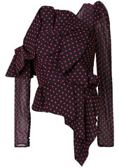 Self Portrait dotted frill top