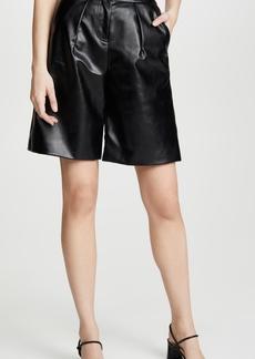 Self Portrait Faux Leather Bermuda Shorts