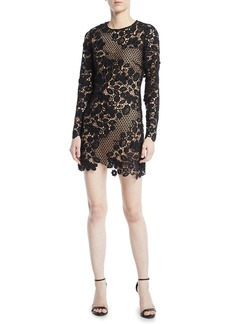 Self Portrait Self-Portrait Floral Cutout Long-Sleeve Cocktail Dress