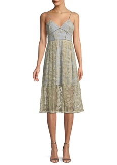Self Portrait Self-Portrait Floral Embroidered Mesh Midi Cocktail Dress