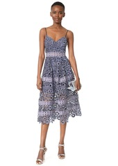 Self Portrait Floral Embroidery Cutout Midi Dress