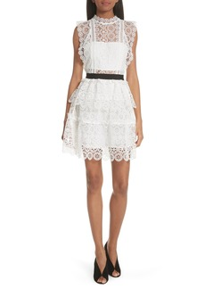 Self Portrait Self-Portrait Floral Lace Tiered Dress