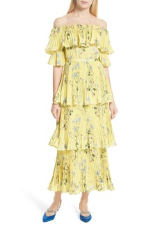 Self Portrait Self-Portrait Floral Pleated Tiered Dress