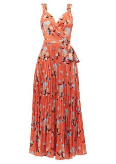 Self Portrait Self-portrait Floral-print crepe de Chine wrap dress