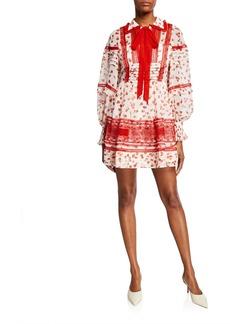 Self Portrait Self-Portrait Floral-Print Trimmed Chiffon Short Dress