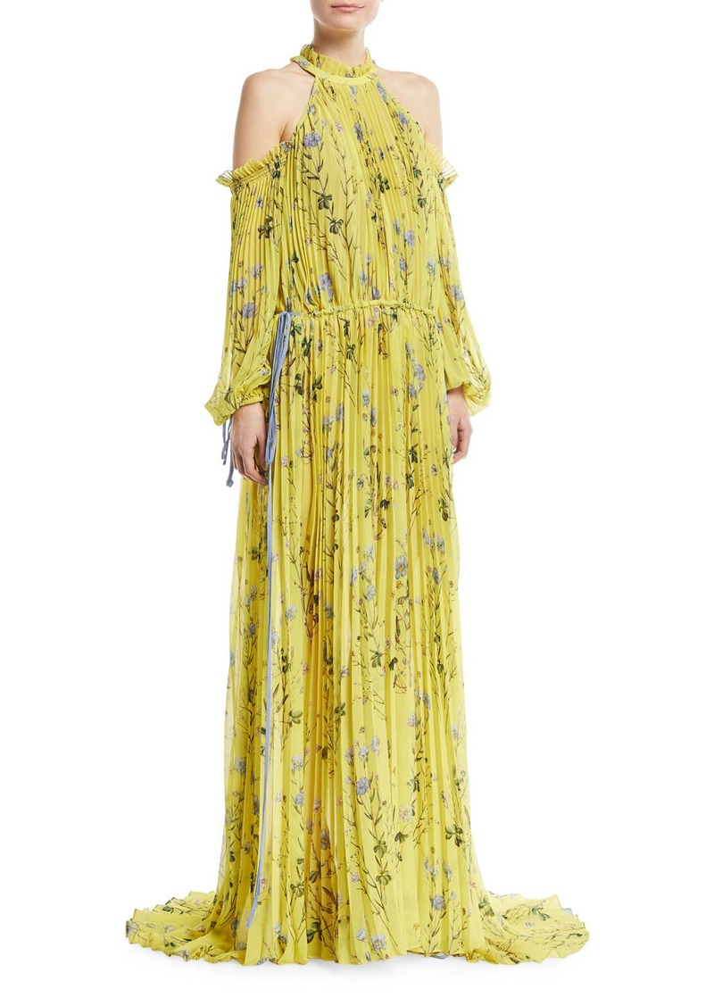 7205028ce833 SALE! Self Portrait Floral-Printed Cold-Shoulder Pleated Evening Gown