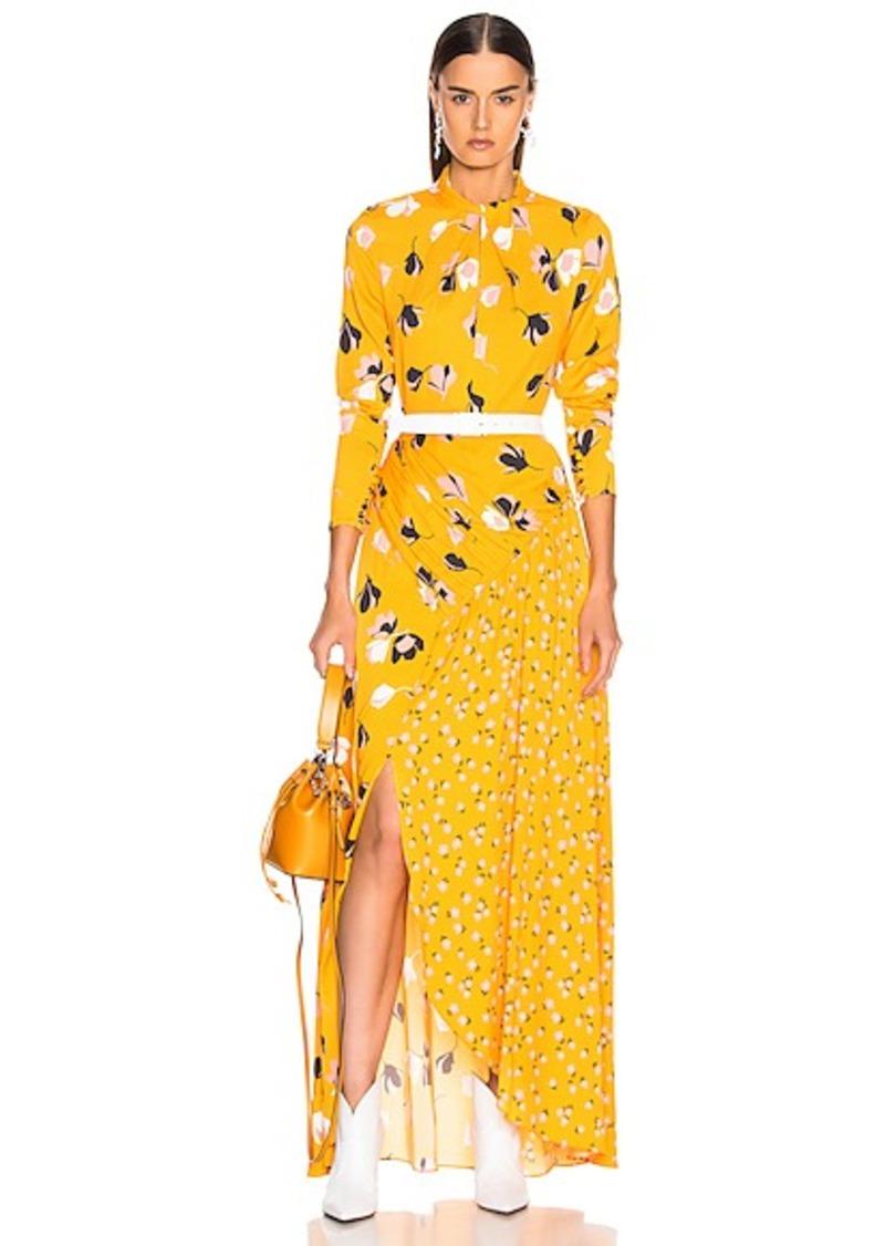 self-portrait Floral Twist Neck Maxi Dress