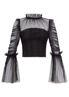 Self Portrait Self-Portrait Fluted-sleeve ruched dotted-tulle top