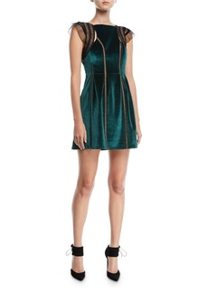 Self Portrait Frill-Shoulder Fit-and-Flare Velvet Mini Dress