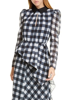 Self Portrait Self-Portrait Gingham Asymmetrical Peplum Blouse