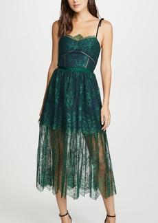 Self Portrait Green Fine Lace Dress