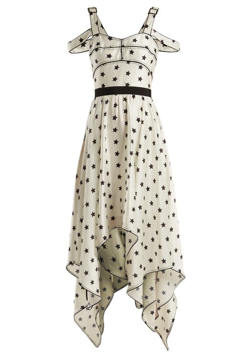 aebcf778ddd5 Self Portrait Self-portrait Handkerchief-hem star-print satin dress ...