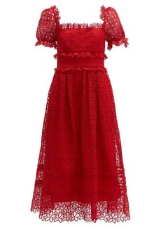 Self Portrait Self-portrait Hibiscus flower guipure-lace midi dress