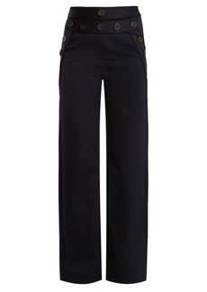 Self Portrait Self-portrait High-rise wide-leg cotton-blend twill trousers