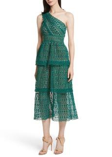 Self Portrait Self-Portrait Lace One-Shoulder Midi Dress