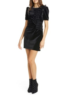 Self Portrait Self-Portrait Lace Ruffle Puff Sleeve Velvet Minidress
