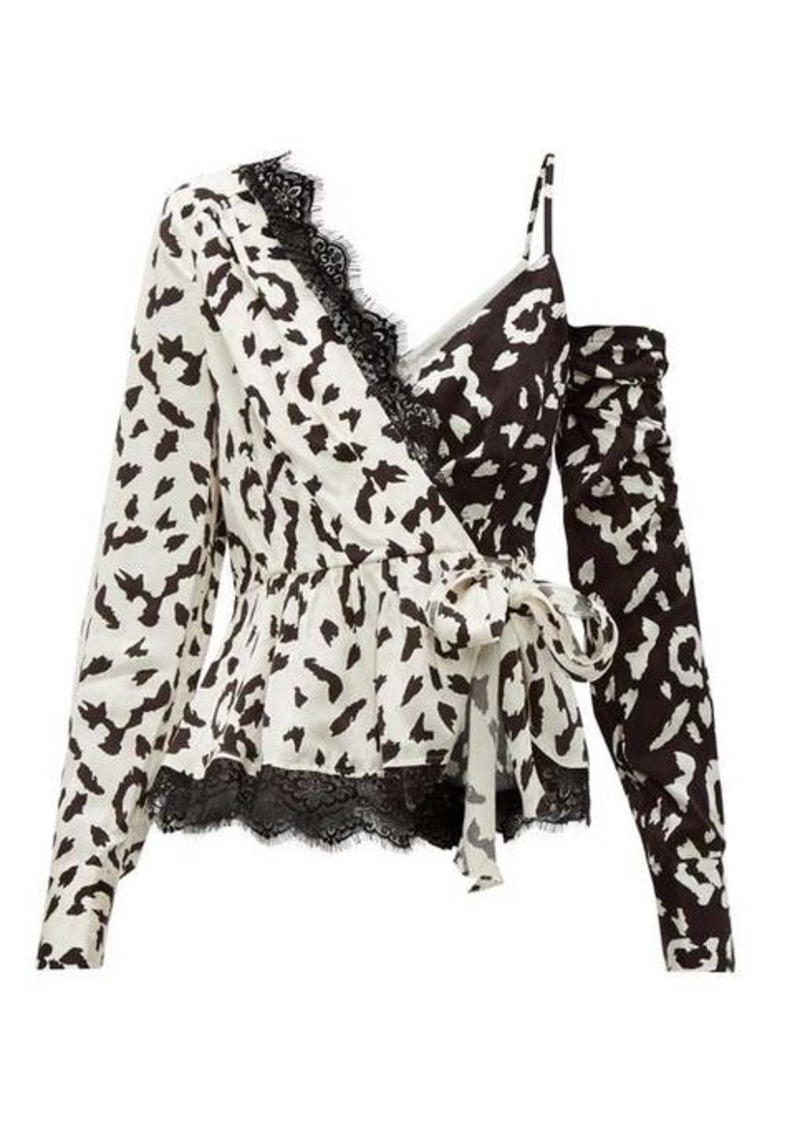 Self Portrait Self-portrait Leopard-print asymmetric satin top