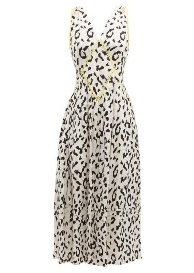 Self Portrait Self-portrait Leopard-print satin-jacquard midi dress