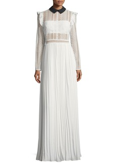 Self Portrait Long-Sleeve Paneled Lace Maxi Dress