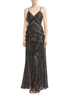 Self Portrait Self-Portrait Metallic Chain-Strap Polka-Dot Pleated Maxi Dress
