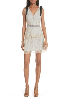 Self Portrait Self-Portrait Metallic Floral Embroidery Tiered Dress