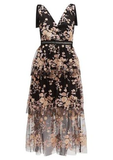 Self Portrait Self-portrait Midnight Floral sequinned tiered tulle midi dress