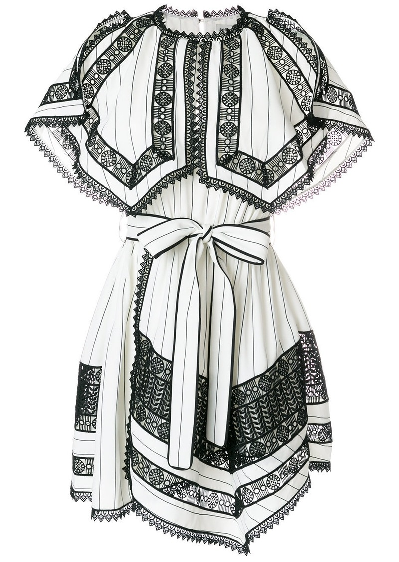 3ba37e86243 Self Portrait Self-Portrait monochrome stripe handkerchief dress - White