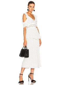 Self Portrait self-portrait Monochrome Stripe Midi Dress Black & White