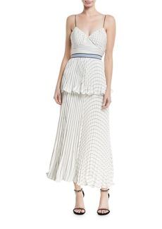 Self Portrait Monochrome Stripe Sleeveless Tiered Cocktail Dress