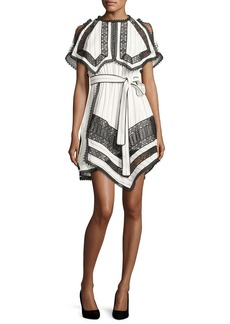 Self Portrait Self-Portrait Monochrome Striped Handkerchief Dress with Lace