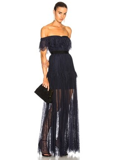 Self Portrait self-portrait Off Shoulder Fine Lace Maxi Dress