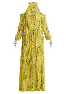 Self Portrait Self-portrait Off-shoulder floral-print pleated dress