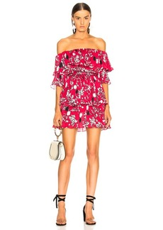 Self Portrait self-portrait Off Shoulder Pleated Floral Mini Dress