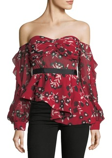 Self Portrait Off-the-Shoulder Floral-Print Peplum Top