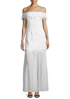 Self Portrait Self-Portrait Off-the-Shoulder Guipure Lace Bridal Gown