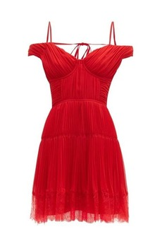 Self Portrait Self-portrait Off-the-shoulder pleated chiffon mini dress