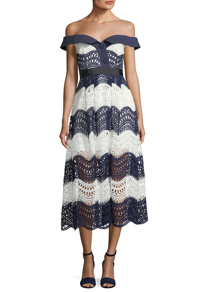 5b3768026580 On Sale today! Self Portrait Off-the-Shoulder Wave Guipure Midi Dress