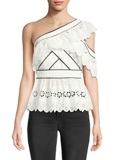 Self Portrait One-Shoulder Broderie Anglaise Frill Top